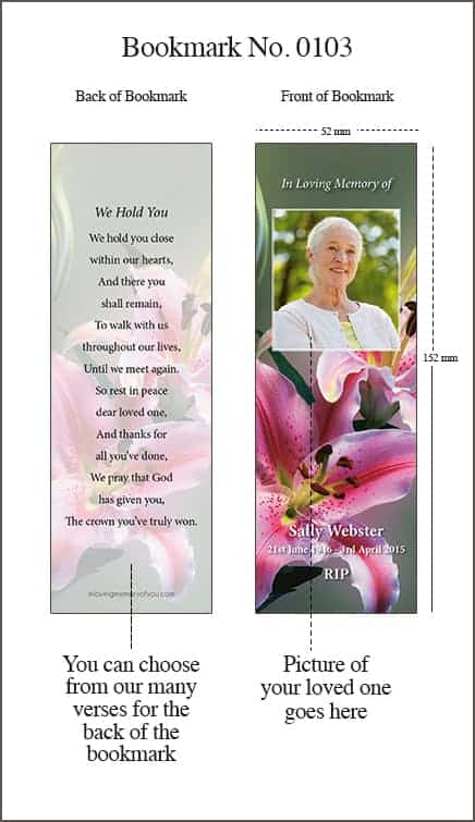 Memorial Bookmark Style 0103 Colourful Lillies