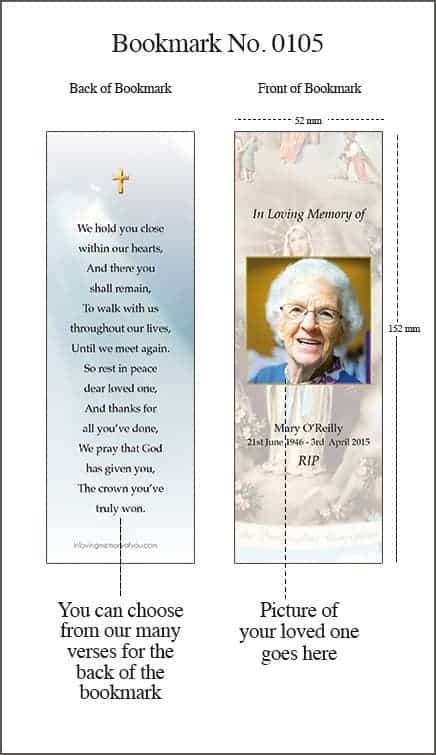 Memorial Bookmark Style 0105 Our Lady of Lourdes