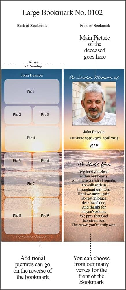 Memorial Bookmark Large 0102 Sunset Seashore