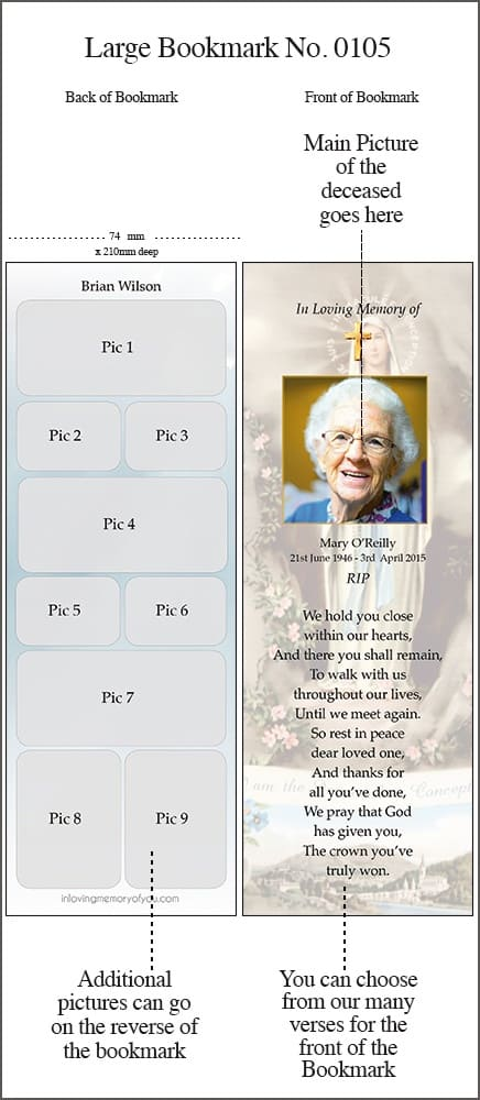 Large Memorial Bookmark Style 0105 Our Lady of Lourdes