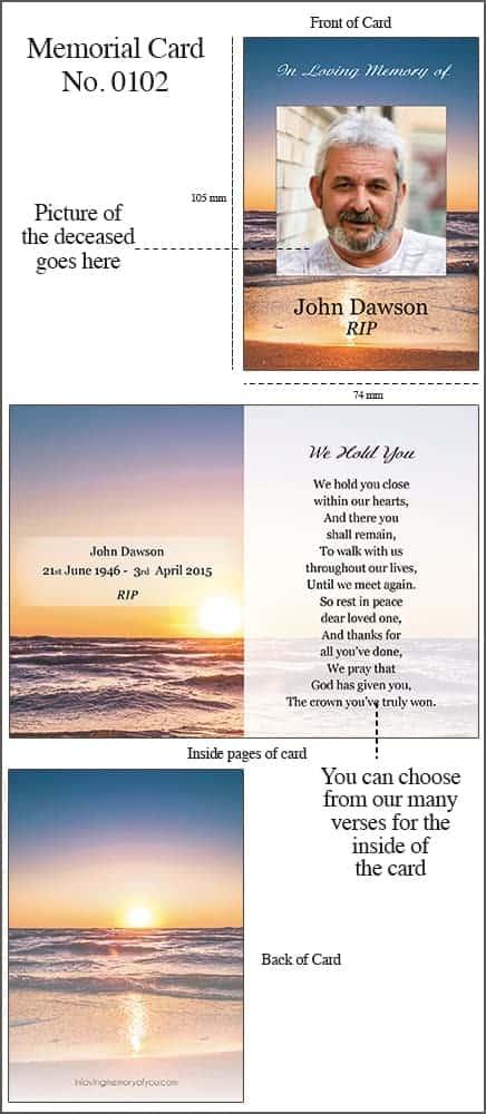 Memorial Card 0102 Sunset Seashore
