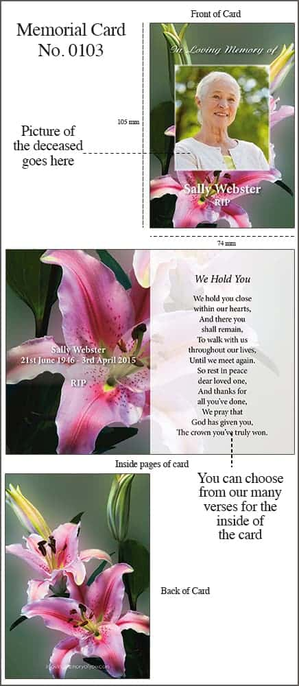Memorial Card 4pp A7 Style 0103 Colourful Lillies
