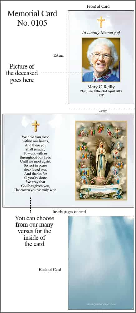 Memorial Card 4pp A7 Style 0105 Our Lady of Lourdes
