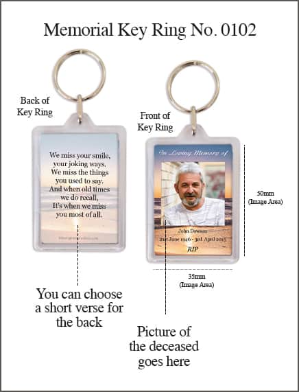 Memorial Keyring 50mm x 35mm 0102 Sunset Seashore