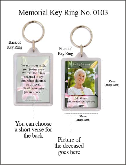 Memorial Keyring Style 0103 Colourful Lillies