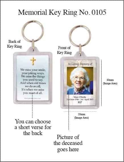 Memorial Keyring Style 0105 Our Lady of Lourdes