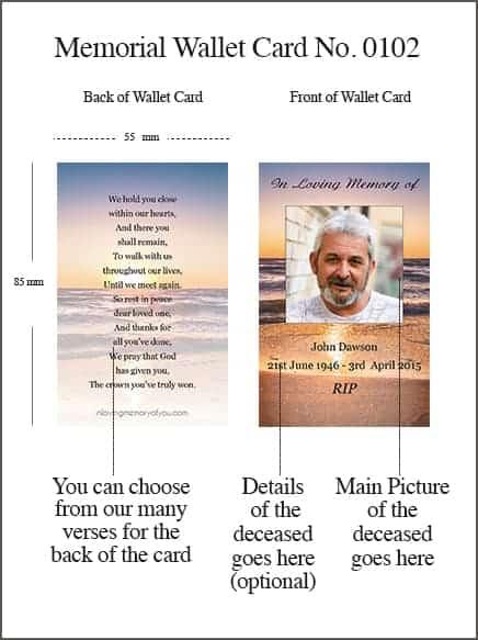 Memorial Wallet Card Style 0102 Sunset Seashore