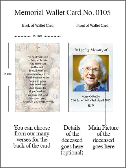 Memorial Wallet Card Style 0105 Our Lady of Lourdes