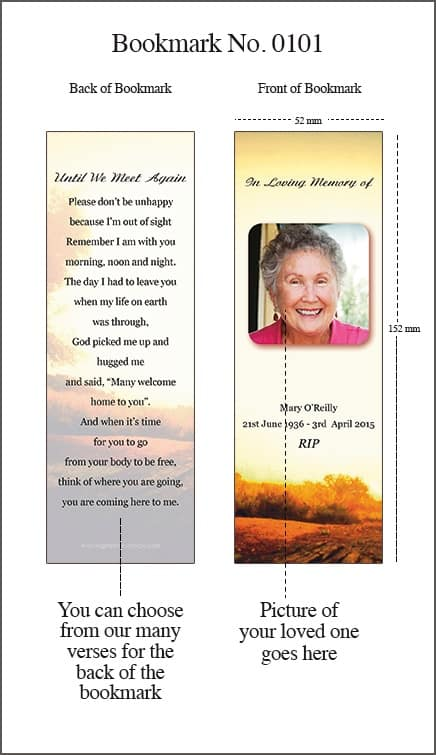Memorial Bookmark - Style 0101 - Rural Rustic