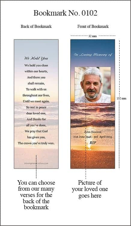 Memorial Bookmark Style 0102 Sunset Seashore