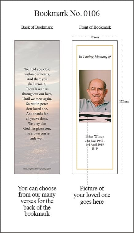 Memorial Bookmark Style 0106 Sunset over the Sea