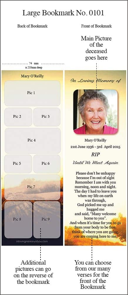 Large Memorial Bookmark - Style 0101 - Rural Rustic